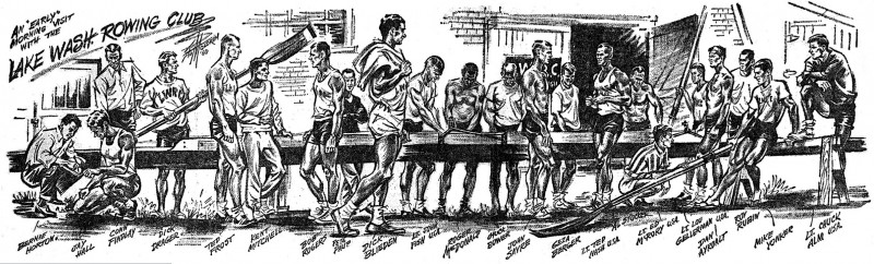 """An early morning visit with the Lake Washington Rowing Club,"" 1960 cartoon by Stu Moldrem of the Seattle Post-Intelligencer (Scoll Down for Detailed Description)"