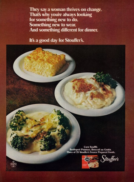 Vintage 1973 Food Ad, Stouffer's Frozen Foods, Corn Souffle, Scalloped Potatoes, Broccoli au Gratin