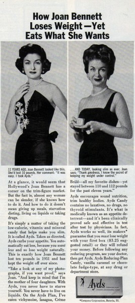 Vintage Ad #1,329: How Joan Bennett Lost Weight With a Product Whose Name Had To Be Dropped A Few Decades Later