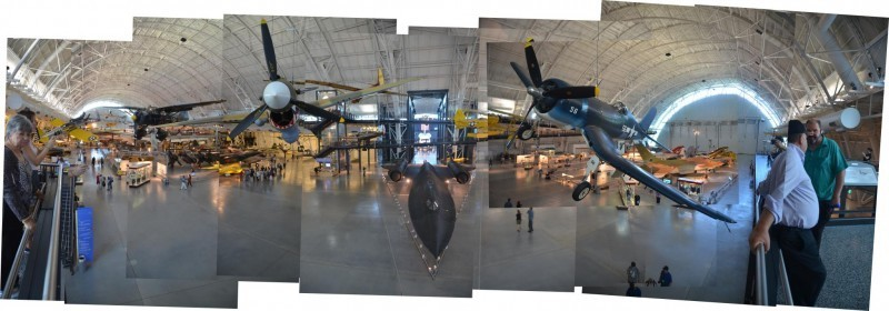 Steven F. Udvar-Hazy Center: Photomontage of main entrance view, including P-40 Warhawk & F-4 Corsair up front, SR-71 Background below in the near distance, and the Space Shuttle Enterprise beyond