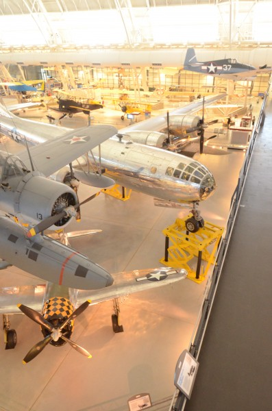 Steven F. Udvar-Hazy Center: South hangar panorama, including Vought OS2U-3 Kingfisher seaplane, B-29 Enola Gay