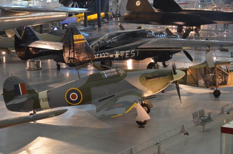 "Steven F. Udvar-Hazy Center: Hawker Hurricane Mk. IIC, with Northrop P-61C Black Widow, B-29 Superfortress ""Enola Gay"", and SR-71 Blackbird in the background"