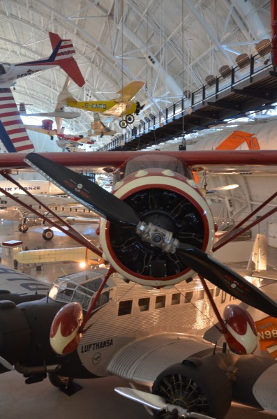 Steven F. Udvar-Hazy Center: south hangar panorama, including De Havilland-Canada DHC-1A Chipmunk Pennzoil Special, Monocoupe 110 Special, Boeing 307, among others