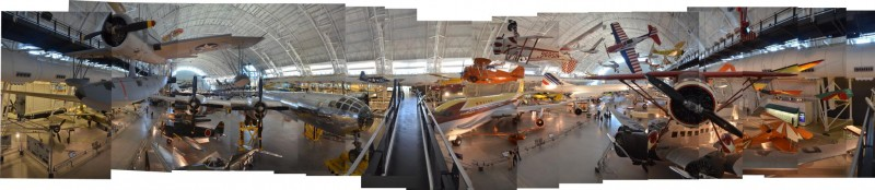 """Steven F. Udvar-Hazy Center: Photomontage of Overview of the south hangar, including B-29 """"Enola Gay"""" and Concorde"""