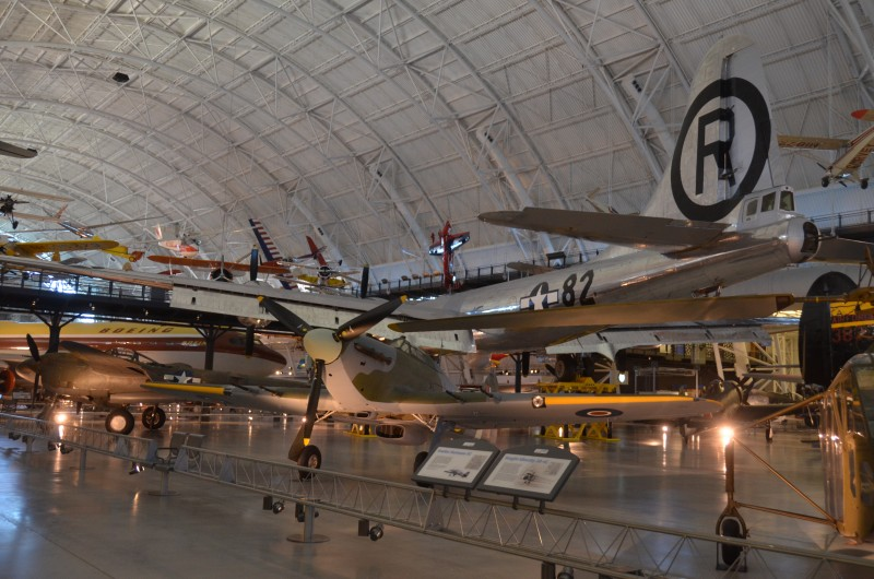 Steven F. Udvar-Hazy Center: British Hawker Hurricane, with P-38 Lightning and B-29 Enola Gay behind it