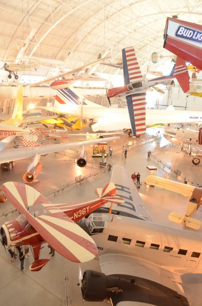 Steven F. Udvar-Hazy Center: South hangar panorama, including stunt planes (DHC-1A Chipmunk, Monocoupe 110 Special, etc) hanging over the Concorde, among others