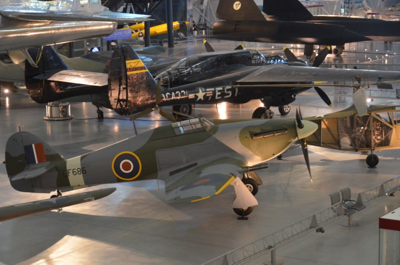 "Steven F. Udvar-Hazy Center: Hawker Hurricane Mk. IIC, with Northrop P-61C Black Widow, B-29 Superfortress ""Enola Gay"", and SR-71 Blackbird in the background"