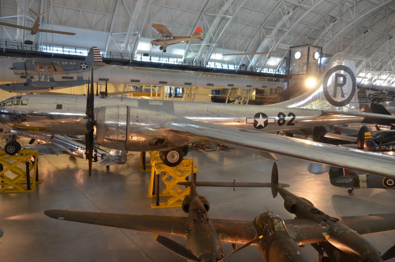 "Steven F. Udvar-Hazy Center: Boeing B-29 Superfortress ""Enola Gay"", with Lockheed P-38J-10-LO Lightning"