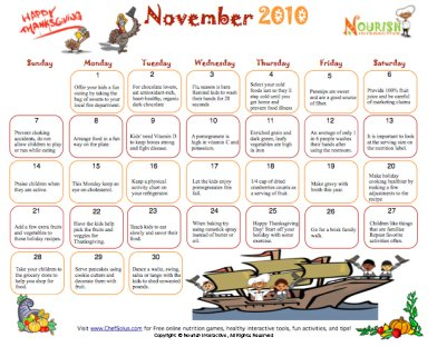 November Healthy Tips Calendar- Printable