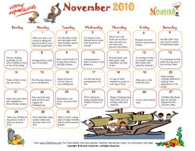 November Healthy Tips Calendar- Printable