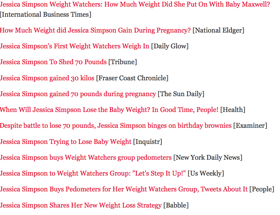 Jessica Simpson Baby Weight..
