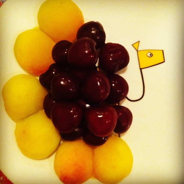 Cherries and apricots. Snack 1.7.12