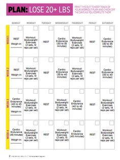work out schedules for weight loss