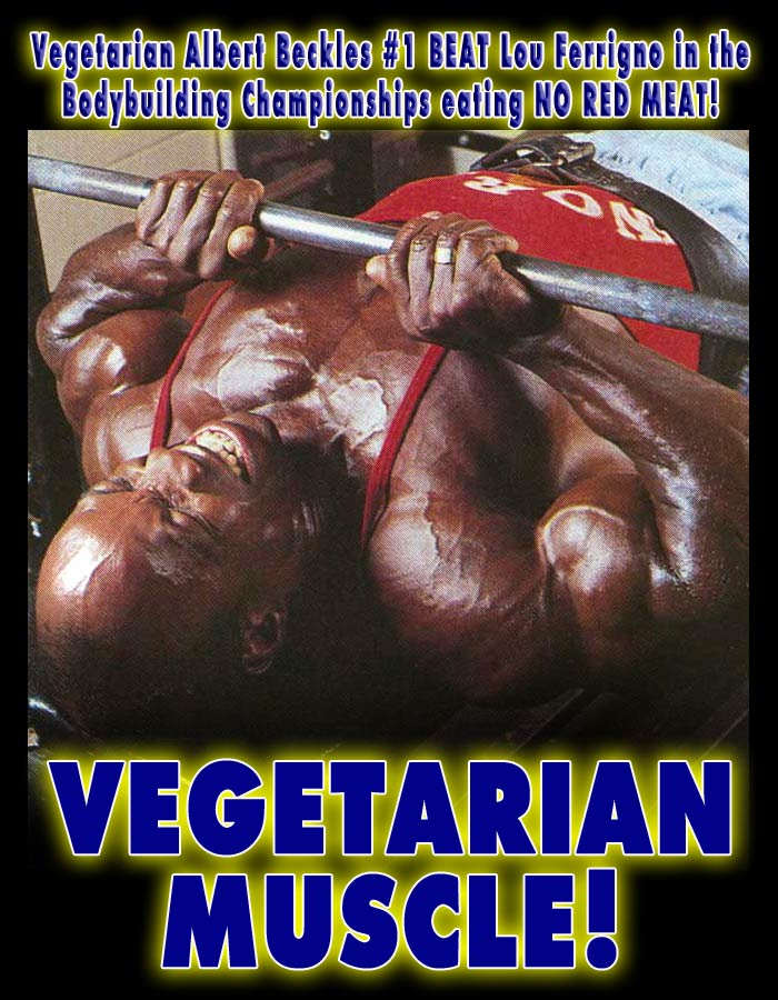VEGETARIAN Bodybuilder Mr Olympia with No Red Meat Albert Beckles doing Bench Press